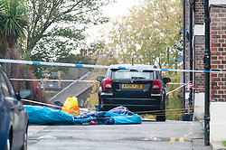 © Licensed to London News Pictures. 06/11/2018. Tulse Hill, UK. Police guard a cordon where as a murder investigation is launched by police after a 16 year old boy was found with fatal injuries in Tulse Hill last night.   Photo credit: Grant Falvey/LNP