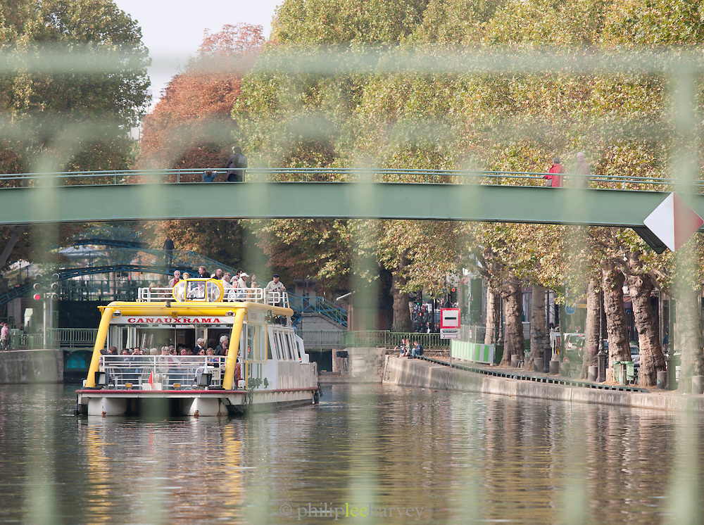 A ferryboat on the Canal Saint Martin, Paris, France