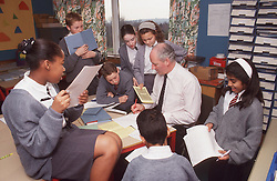 Secondary school classroom with pupils and teacher,