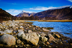 The River Etive in winter looking north from Loch Etive towards Stob Dubh, Highlands of Scotland<br /> <br /> (c) Andrew Wilson | Edinburgh Elite media