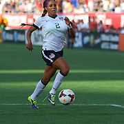 U.S. forward Sydney Leroux (2) runs with the ball during a women's soccer International friendly match between Brazil and the United States National Team, at the Florida Citrus Bowl  on Sunday, November 10, 2013 in Orlando, Florida. The U.S won the game by a score of 4-1.  (AP Photo/Alex Menendez)