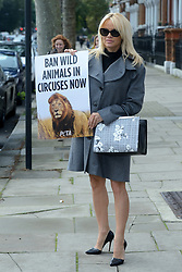 Pamela Anderson urges Prime Minister Theresa May to ban wild-animal circuses during a PETA Photocall in London, England on October 12, 2016. Photo by Aurore Marechal/ABACAPRESS.COM