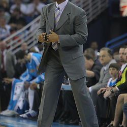 08 February 2009: New Orleans Hornets coach Byron Scott yells instructions to his team during a NBA game between the Minnesota Timberwolves and the New Orleans Hornets at the New Orleans Arena in New Orleans, LA.