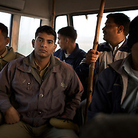 From the back of their bus, police officers reflect on their failed attempt to find Ramsahay Prajapati, an illegal gun maker in Pilukhera village, 40km from Rantambore National Park. Information gathered by Dharmendra Khandal of Tiger Watch suggested that Prajapati supplied guns to poachers. Prajapati had fled the scene before police could arrest him however a gun and gun-making tools were discovered hidden in his workshop and home. Prajapati's wife and neighbours were advised to present him to the police on his return home. ..Sariska National Park in Rajasthan was once home to dozens of tigers but by 2005 poaching had resulted in their complete eradication. Recognising the urgent need for intervention, the Indian and Rajasthan-state governments began the reintroduction of tigers into Sariska. Two cats were airlifted 200 km from Ranthambore National Park in June 2008. On November 5th an attempt to relocate a third tiger was postponed until later in the month. This relocation strategy is certainly an important part of the tiger conservation effort but many, including those like Dharmendra Khandal of the NGO Tiger Watch, argue that it will never be entirely successful without properly confronting the three essential issues that threaten tiger populations: poaching, habitat loss and the hunting of prey-base animals. In turn, these three issues cannot be addressed without acknowledging the malign influence of caste, poverty and poor administrative accountability. Poaching is almost exclusively undertaken by extremely poor and marginalised groups, including the Mogia caste who, without education, land and access to credit have limited alternative means of income. Many in the Mogia community also hunt bush meat for both their own consumption and to sell to others. This results in a depletion of the prey-base upon which tigers feed. Encroachment and grazing by those including the Gujar people who raise dairy herds, have led to habitat loss in Sariska and other parks. To pr