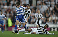 Photo: Lee Earle.<br /> Reading v Newcastle United. The Barclays Premiership. 30/04/2007.Newcastle's Nolberto Solano (R) slides in on Stephen Hunt.