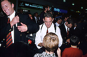 Mark Hammett of the Canterbury Crusaders meets fans at the airport after winning the Super 12 Rugby union final, 2000. ©Copyright Photo: Sandra Teddy / www.photosport.nz