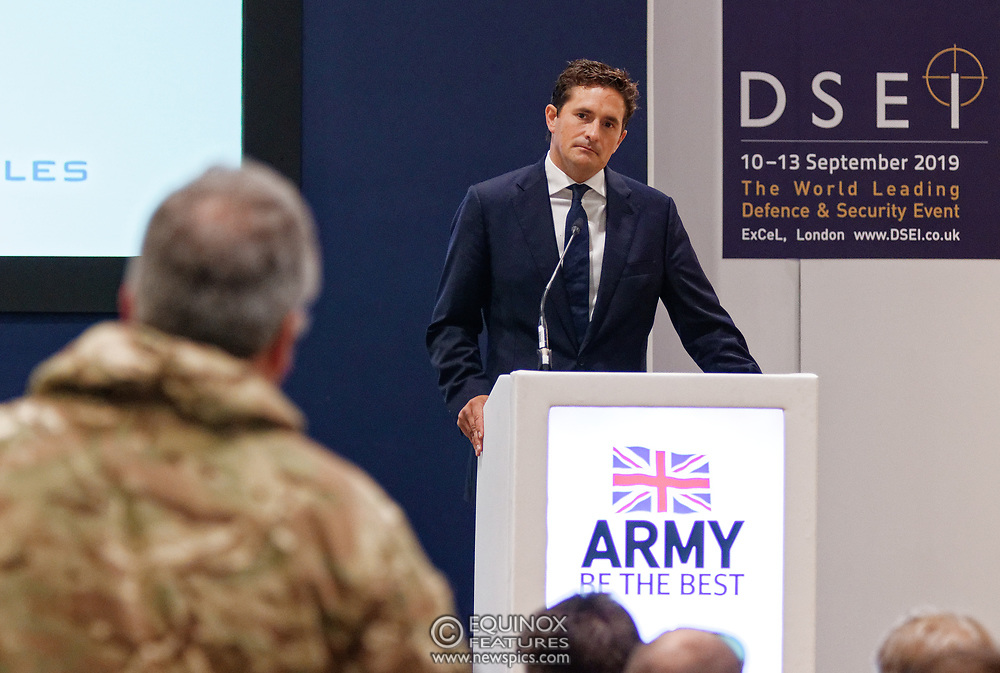 London, United Kingdom - 12 September 2019<br /> Johnny Mercer MP, Parliamentary Under-Secretary of State for Defence People and Veterans for the UK Government gives a keynote address speech and answers questions from the audience at DSEI 2019 security, defence and arms fair at ExCeL London exhibition centre.<br /> (photo by: EQUINOXFEATURES.COM)<br /> Picture Data:<br /> Photographer: Equinox Features<br /> Copyright: ©2019 Equinox Licensing Ltd. +443700 780000<br /> Contact: Equinox Features<br /> Date Taken: 20190912<br /> Time Taken: 10142149<br /> www.newspics.com