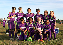 24 January 2016. Houma, Louisiana. <br /> New Orleans Jesters Youth Academy U10 Purple vs Lafourche Legacy U11's. Jesters win 7-0. Team Photo.<br /> Photo©; Charlie Varley/varleypix.com