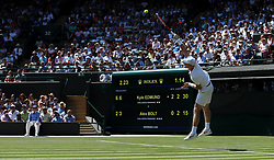 Kyle Edmund in action on day two of the Wimbledon Championships at the All England Lawn Tennis and Croquet Club, Wimbledon.