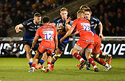 Sale Sharks No.8 Daniel Du Preez drives at the Leicester Tigers defence during a Gallagher Premiership Rugby Union match Sale Sharks -V- Leicester Tigers, won by Sale 36-3 on Friday, Feb. 21, 2020, in Eccles, United Kingdom. (Steve Flynn/Image of Sport via AP)