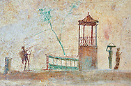 Roman fresco wall decorations of the Triclinium C, Villa Farnesia, Rome. Museo Nazionale Romano ( National Roman Museum), Rome, Italy. .<br /> <br /> If you prefer to buy from our ALAMY PHOTO LIBRARY  Collection visit : https://www.alamy.com/portfolio/paul-williams-funkystock/national-roman-museum-rome-fresco.html<br /> <br /> Visit our ROMAN ART & HISTORIC SITES PHOTO COLLECTIONS for more photos to download or buy as wall art prints https://funkystock.photoshelter.com/gallery-collection/The-Romans-Art-Artefacts-Antiquities-Historic-Sites-Pictures-Images/C0000r2uLJJo9_s0