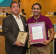 Dr. Elias Sanchez and Richard Perez, Jr. pose for a photograph during a meeting of the Board of Trustees, June 9, 2016.
