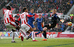 Stoke City's Eric Maxim Choupo-Moting (second from left) scores his side's first goal of the game