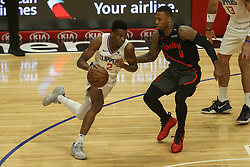 December 17, 2018 - Los Angeles, CA, U.S. - LOS ANGELES, CA - DECEMBER 17: Los Angeles Clippers Guard Shai Gilgeous-Alexander (2) being defended by Portland Trail Blazers Guard Damian Lillard (0) during the Portland Trail Blazers at Los Angeles Clippers NBA game on December 17, 2018 at Staples Center in Los Angeles, CA.. (Photo by Jevone Moore/Icon Sportswire) (Credit Image: © Jevone Moore/Icon SMI via ZUMA Press)