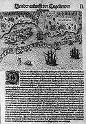 The Englishmen's Arrival in Virginia:  Map of Virginia coast showing Native territories Secotan and Weapemoc, and the Native community on Roanoak island at river mouth, 1590. Engraving by Theodor dey Bry (1528-1598) after watercolour by John White (1540-1593).