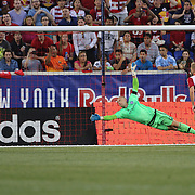 Goalkeeper Josh Saunders, NYCFC, dives to a shot which goes just wide during the New York Red Bulls Vs NYCFC, MLS regular season match at Red Bull Arena, Harrison, New Jersey. USA. 10th May 2015. Photo Tim Clayton
