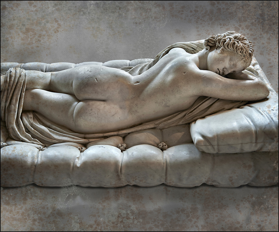"""Sleeping Hermaphroditus, The Borghese Hermaphrodite.  A Life size ancient 2nd century AD Roman statue sculpted in Greek Marble and found in the grounds of Santa Maria della Vittoria, near the Baths of Diocletian, Rome. It was added to the Borghese Collection by Cardinal Scipione Borghese, in the 17th century and was named the """"Borghese Hermaphroditus"""". It was later sold to the occupying French and was removed it to The Louvre. Hermaphrodite, son of Hermes and Aphrodite had repels the advances of the nymph Salmacis. However, she got Zeus as their two bodies are united in a bisexual being. The Sleeping Hermaphroditus has been described as a good early Imperial Roman copy of a bronze original by the later of the two Hellenistic sculptors named Polycles (150 BC) the original bronze was mentioned in Pliny's Natural History. In 1619  Bernini sculpted the mattress on which the ancient marble of Hermaphrodite lies. Louvre Museum, Paris.  Wall art print by Photographer Paul E Williams .<br /> <br /> If you prefer visit our World Gallery Print Shop To buy a selection of our prints and framed prints desptached  with a 30-day money-back guarantee and is dispatched from 16 high quality photo art printers based around the world. ( not all photos in this archive are available in this shop) https://funkystock.photoshelter.com/p/world-print-gallery"""