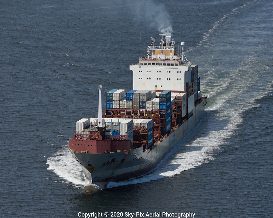 Port bow view of the container ship M/V Matson Anchorage underway in Puget Sound.