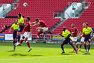 Exeter City's Ryan Bowman (12) wins a header during the EFL Cup match between Bristol City and Exeter City at Ashton Gate, Bristol, England on 5 September 2020.