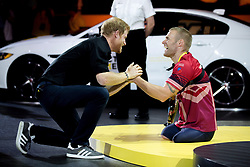 Prince Harry congratulates Mark Ormrod of the UK on his silver medal in indoor rowing at the Invictus Games in Toronto, ON, Canada, on Tuesday, Sept. 26, 2017. Photo by Chris Donovan/CP/ABACAPRESS.COM