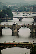 The five bridges over the Vltava River. Prague, Czech Republic.