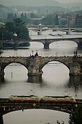 The five bridges over the Vltava River. Prague, Czech Republic.
