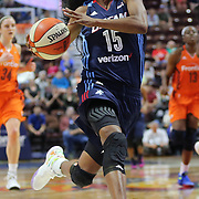 UNCASVILLE, CONNECTICUT- JUNE 3:   Tiffany Hayes #15 of the Atlanta Dream in action during the Atlanta Dream Vs Connecticut Sun, WNBA regular season game at Mohegan Sun Arena on June 3, 2016 in Uncasville, Connecticut. (Photo by Tim Clayton/Corbis via Getty Images)