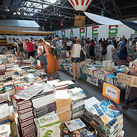 Crowd of people gather at a bookshop discount sale in Budapest, Hungary on July 7, 2021. ATTILA VOLGYI