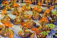"Dancers called ""ala das Baianas"" spinning, Carnaval parade of Inocentes de Belford Roxo samba school in the Sambadrome, Rio de Janeiro, Brazil."