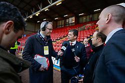 Bristol City Manager Steve Cotterill is interviewed by BBC Radio 5 Live after Bristol City lose 0-1 - Photo mandatory by-line: Rogan Thomson/JMP - 07966 386802 - 25/01/2015 - SPORT - FOOTBALL - Bristol, England - Ashton Gate Stadium - Bristol City v West Ham United - FA Cup Fourth Round Proper.