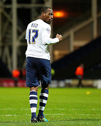 Kyel Reid of Preston North End celebrates after scoring his penalty - Mandatory byline: Matt McNulty/JMP - 07966386802 - 22/09/2015 - FOOTBALL - Deepdale Stadium -Preston,England - Preston North End v Bournemouth - Capital One Cup - Third Round