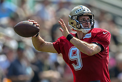 July 28, 2018 - New Orleans, LA, U.S. - METAIRIE, LA. - JULY 28:  New Orleans Saints quarterback Drew Brees (9) run through a drill during New Orleans Saints training camp practice on July 28, 2018 at the Ochsner Sports Performance Center in New Orleans, LA.  (Photo by Stephen Lew/Icon Sportswire) (Credit Image: © Stephen Lew/Icon SMI via ZUMA Press)