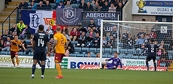 Motherwell's Danny Johnson (24) scoring their first goal. Dundee 1 v 3 Motherwell, SPFL Ladbrokes Premiership game played 1/9/2018 at Dundee's Kilmac stadium Dens Park