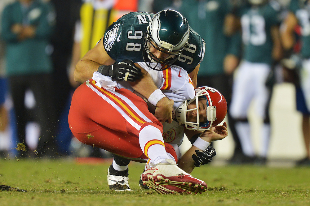 PHILADELPHIA, PA - SEPTEMBER 19: Alex Smith #11 of the Kansas City Chiefs gets sacked by Connor Barwin #98 of the Philadelphia Eagles at Lincoln Financial Field on September 19, 2013 in Philadelphia, Pennsylvania. The Chiefs won 26-16. (Photo by Drew Hallowell/Philadelphia Eagles/Getty Images) *** Local Caption ***  Alex Smith;Connor Barwin