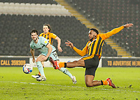 Hull City's Mallik Wilks stretches to get a shot on goal but it went wide<br /> <br /> Photographer Lee Parker/CameraSport<br /> <br /> The EFL Sky Bet League One - Hull City v Rochdale - Tuesday 2nd March 2021 - KCOM Stadium - Kingston upon Hull<br /> <br /> World Copyright © 2021 CameraSport. All rights reserved. 43 Linden Ave. Countesthorpe. Leicester. England. LE8 5PG - Tel: +44 (0) 116 277 4147 - admin@camerasport.com - www.camerasport.com