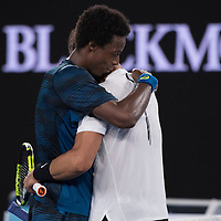Gael Monfils and Rafael Nadal on day eight of the 2017 Australian Open at Melbourne Park on January 23, 2017 in Melbourne, Australia.<br /> (Ben Solomon/Tennis Australia)