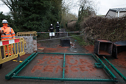 Harefield, UK. 14 January, 2020. A gate installed across a public right of way yesterday by enforcement agents working on behalf of HS2 which is believed to have been vandalised by Stop HS2 activists during the night. Stop HS2 activists are currently being evicted from a protection camp along the public footpath. 108 ancient woodlands are set to be destroyed by the high-speed rail link and further destruction of trees for HS2 in the Harvil Road area is believed to be imminent.