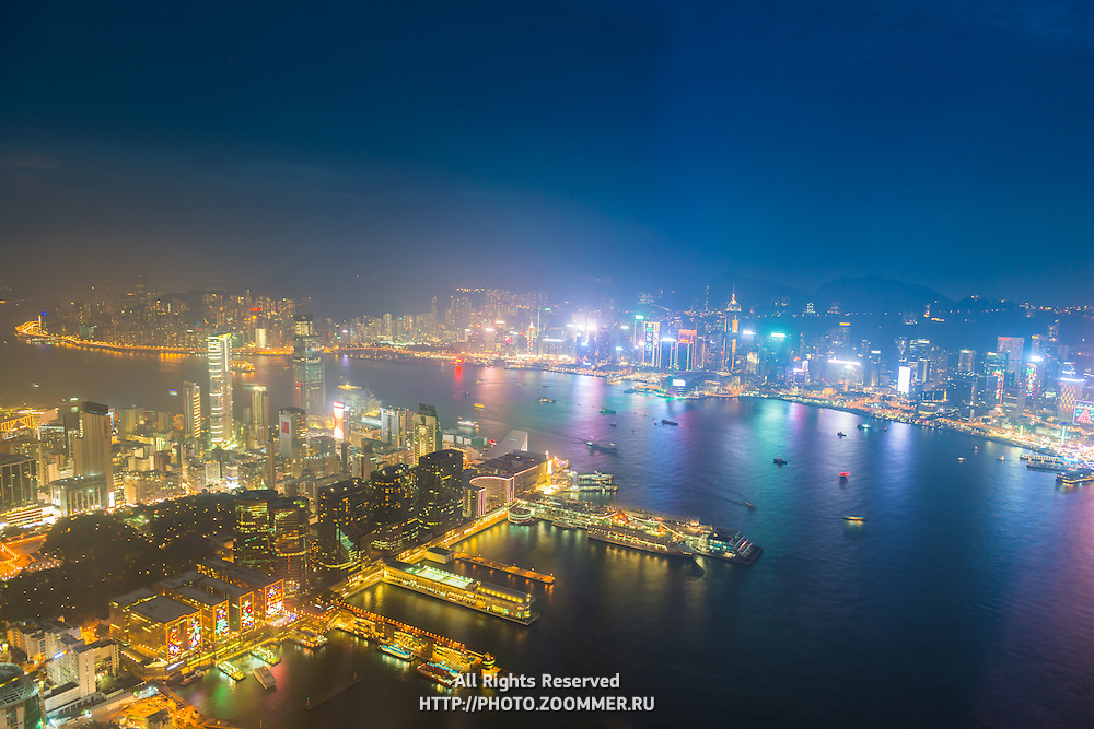 Aerial view of Hong Kong Island, Kowloon and the bay from Sky100 deck