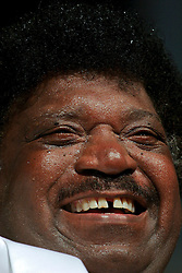 April 27 2007. New Orleans, Louisiana. <br /> The New Orleans Jazz and Heritage Festival. Music legend Percy Sledge and the Blue Eyed Soul Revue play the Southern Comfort Blues Tent. Wow, what a performance!<br /> Photo credit; Charlie Varleyvarleypix.com