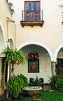 view of the spanish colonial style patio of del marques restaurant in valladolid yucatan mexico the best place to eat in this town