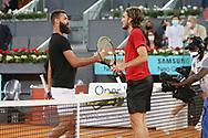 Benoit Paire of France and Stefanos Tsitsipas of Greece during the Mutua Madrid Open 2021, Masters 1000 tennis tournament on May 5, 2021 at La Caja Magica in Madrid, Spain - Photo Laurent Lairys / ProSportsImages / DPPI