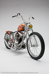 """""""My Brother's Keeper"""", built from a 1978 shovelhead by Ryan Gore of Paper Street in Gunnison, CO. Photographed by Michael Lichter in Boulder, CO on January 5, 2018. ©2018 Michael Lichter."""