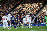 Portugal midfielder Sergio Oliveira (15) (Porto) almost scores an own goal with the header back that had Portugal goalkeeper Beto (22) (Goztepe) stretching to save during the Friendly international match between Scotland and Portugal at Hampden Park, Glasgow, United Kingdom on 14 October 2018.
