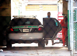 16 March 2015. New Orleans, Louisiana.<br /> A man believed to be Robert Durst is unloaded from a police car at the Orleans Parish Criminal District Court before a hearing for extradition to Los Angeles.<br /> Photo; Charlie Varley/varleypix.com