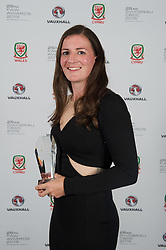 CARDIFF, WALES - Monday, October 5, 2015: Wales' Helen Ward with the Woman's Players' Player of the Year during the FAW Awards Dinner at Cardiff City Hall. (Pic by Ian Cook/Propaganda)