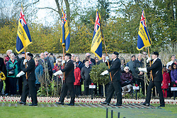 Royal British Legion standard bearers march with their standards in the Royal Wootton Bassett Field of Remembrance at Lydiard park, Swindon, as it opens to honour and remember those who have been lost serving in the Armed Forces.