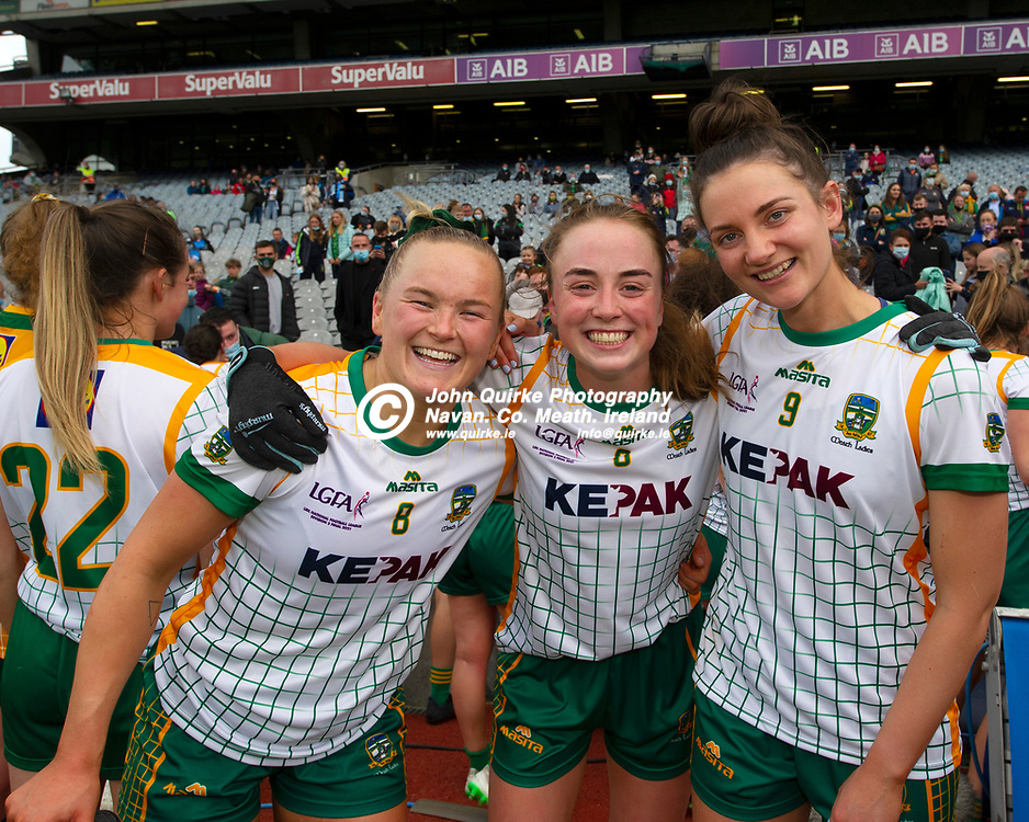 26-06-21. Meath v Kerry - Lidl Ladies National Football League Division 2 Final at Croke Park.<br /> Vikki Wall, Aibhin Cleary and Maire O'Shaughnessy celebration.<br /> Photo: John Quirke / www.quirke.ie<br /> ©John Quirke Photography, 16 Proudstown Road, Navan. Co. Meath. (info@quirke.ie / 046-9028461 / 087-2579454).