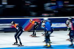 Itzhak de Laat of Netherlandsin action on 5000 meter relay during ISU World Short Track speed skating Championships on March 06, 2021 in Dordrecht