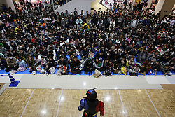 January 2, 2018 - Tokyo, Japan - People look at a Hero Shaw of a popular animation by a New Year's event in Tokyo, Japan January 2, 2018. (Credit Image: © Hitoshi Yamada/NurPhoto via ZUMA Press)