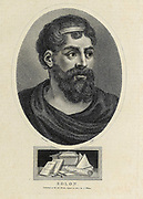 Solon (c. 630 – c. 560 BC) was an Athenian statesman, lawmaker and poet. He is remembered particularly for his efforts to legislate against political, economic and moral decline in archaic Athens.[2] His reforms failed in the short term, yet he is often credited with having laid the foundations for Athenian democracy.[3][4][5] He wrote poetry for pleasure, as patriotic propaganda, and in defence of his constitutional reform. Copperplate engraving From the Encyclopaedia Londinensis or, Universal dictionary of arts, sciences, and literature; Volume VIII;  Edited by Wilkes, John. Published in London in 1810.